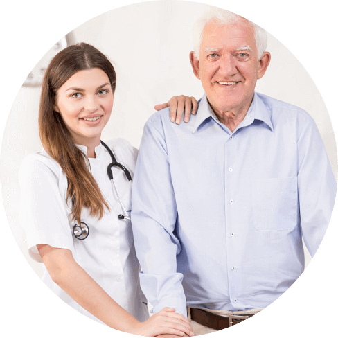 nurse with old man smiling